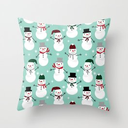 Snowman gender neutral mint white and black holiday pattern kids room decor seasonal Throw Pillow