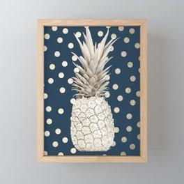 Gold Pineapple Polka Dots 2 Framed Mini Art Print