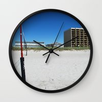 volleyball Wall Clocks featuring Volleyball and Blue Skies by Tammy Warren Designs