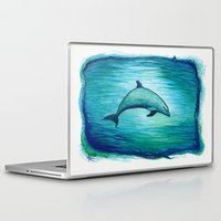 psychadelic Laptop & iPad Skins featuring Indigo Lagoon ~ Dolphin Watercolor by Amber Marine