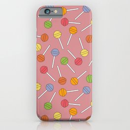 Happy Lollipops Sugar Candy Red Background iPhone Case