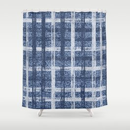 Checkered frayed Jeans fabric seamless pattern Shower Curtain
