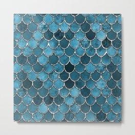 Turquoise Silver Mermaid Scales Metal Print