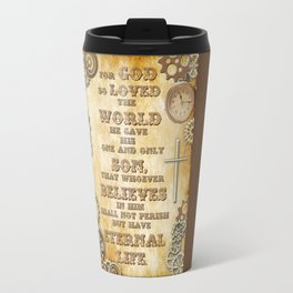 Steampunk Bible Verse For God So Loved the World Travel Mug