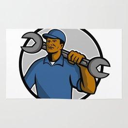 African American Mechanic Mascot Rug