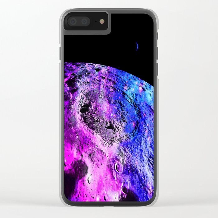 Purple Blue Galaxy Moon Clear iPhone Case