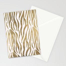Chic faux gold white modern zebra animal print pattern Stationery Cards