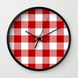 Red and White Buffalo Check Wall Clock