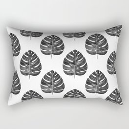 Monstera Leaf | Black and White Rectangular Pillow