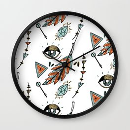 Boho eyes & feathers Wall Clock
