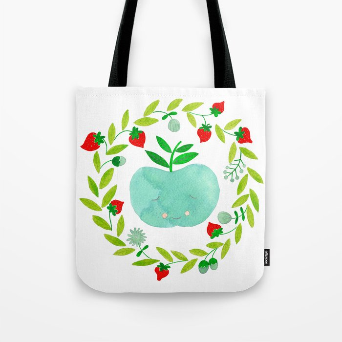 mint apple with wreath and strawberries watercolor Tote Bag