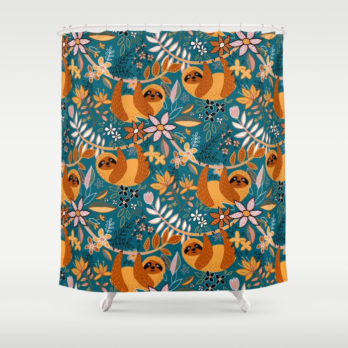 Happy Boho Sloth Floral Shower Curtain