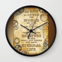 bible verse Wall Clocks featuring Steampunk Bible Verse For God So Loved the World by Whimsy and Nonsense