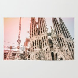 Rainbow Sky Vintage Sagrada Familia in Barcelona Spain Rug