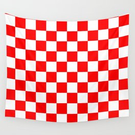 Checkered (Classic Red & White Pattern) Wall Tapestry