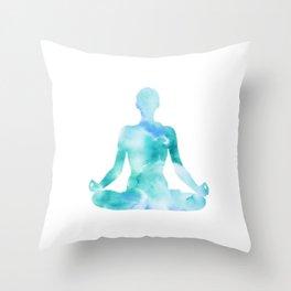 Yoga | Lotus Pose | Padmasana | Sacred Lotus | Asana | Meditation | Blue Throw Pillow