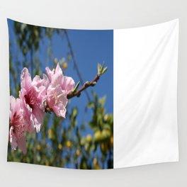 Peach Tree Blossom Against Blue Sky Wall Tapestry