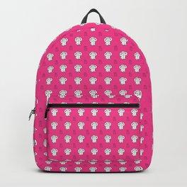 White monkeys on pink background Backpack