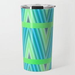 Zig Zag pattern light blue and green 1 Travel Mug