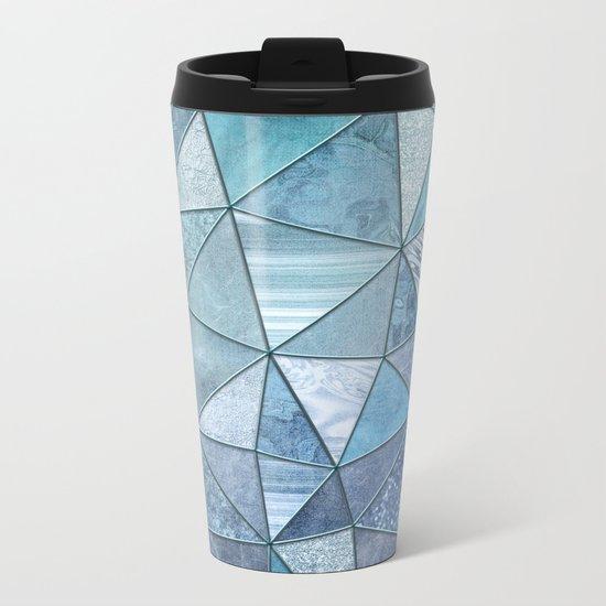 Blue Aqua Glamour Shiny Patchwork Metal Travel Mug