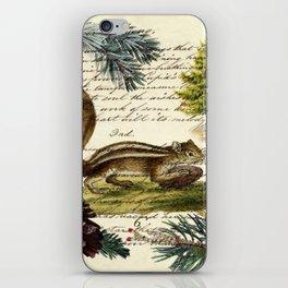 Rustic christmas winter evergreen pine tree woodland chipmunk iPhone Skin