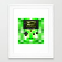 warcraft Framed Art Prints featuring Gameboy Color Green Creeper by Veylow