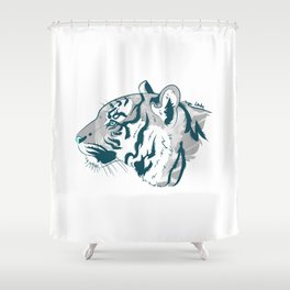 Grayscale Tiger Shower Curtain