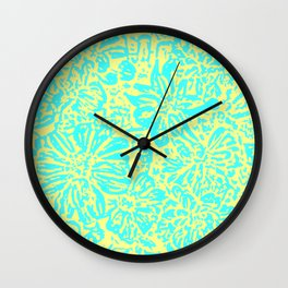 Marigold Lino Cut, Turquoise And Yellow Wall Clock
