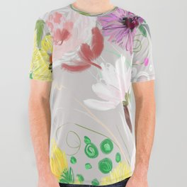Floral On Icy Grey All Over Graphic Tee