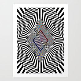 Matrix processor. Holographic hypnotic pattern. Art Print