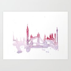 Watercolor landscape illustration_London Art Print