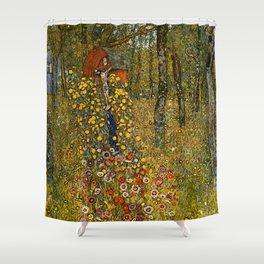 """Gustav Klimt """"Farm Garden with Crucifix """" Shower Curtain"""