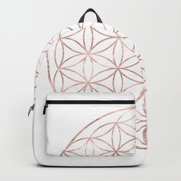 Mandala Rose Gold Flower of Life Backpack