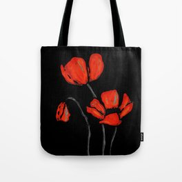 Red Poppies On Black by Sharon Cummings Tote Bag