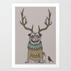 Deer Pug Art Print