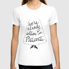 we're clearly soldiers in petticoats White MEDIUM Womens Fitted Tee