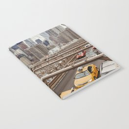 View on the city from the Brooklyn Bridge in New York City, USA | Photography print | New York City yellow caps | Tipical NY building architecture photo Art Print Notebook