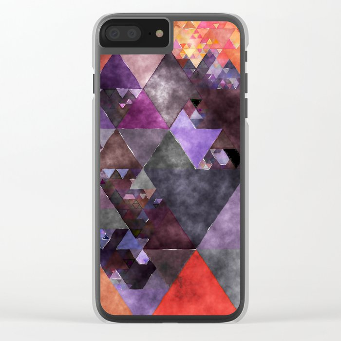 Abstract fire red yellow blue Triangle pattern- Watercolor Illustration Clear iPhone Case