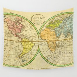 Vintage World Map 1798 Wall Tapestry