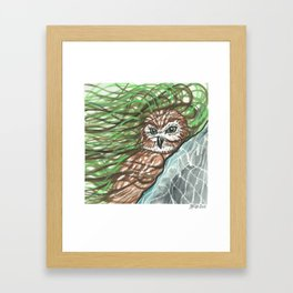 Barn Owl in Watercolor Framed Art Print
