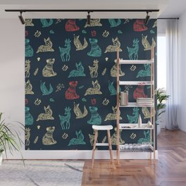 Cute Whimsical Forest Animals Pattern Wall Mural