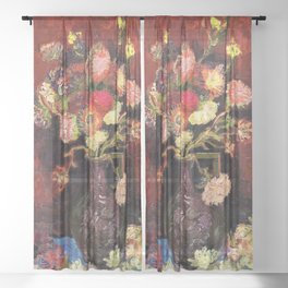 12,000pixel-500dpi - Vincent van Gogh - Vase With Chinese Asters And Gladioli - Digital Remaster Sheer Curtain