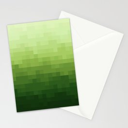 Gradient Pixel Green Stationery Cards