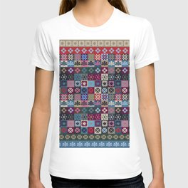 Checkered Patchwork Tile Pattern T-shirt