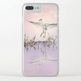 Snowy Egret in flight over lake at sunset Clear iPhone Case