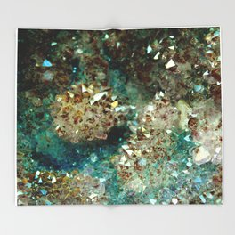SPARKLING GOLD AND TURQUOISE CRYSTAL Throw Blanket
