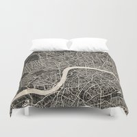 london map Duvet Covers featuring London map by NJ-Illustrations