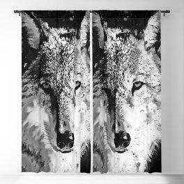 wolf splatter watercolor black white Blackout Curtain