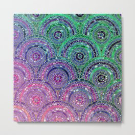 Pink Purple Blue and Green Sparkling Glitter Circles and Dots Metal Print