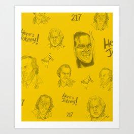 Here's Johnny! | Yellow Art Print